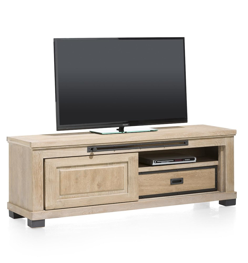Meuble tv atelier 1 porte coulissante 160cm heth for Meuble porte tv