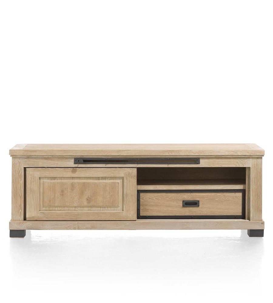 Atelier meuble tv 1 porte coulissante 1 tiroir 1 for Meuble tv style atelier