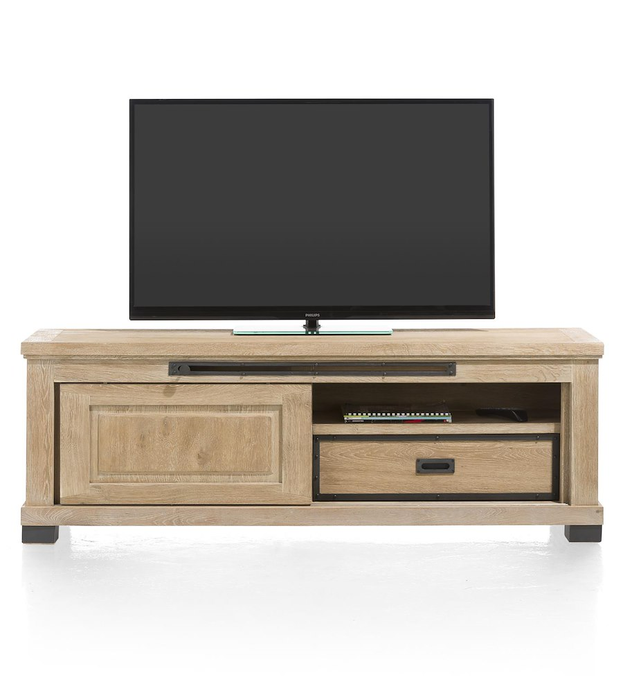Meuble tv atelier 1 porte coulissante 160cm heth for Meuble tv porte