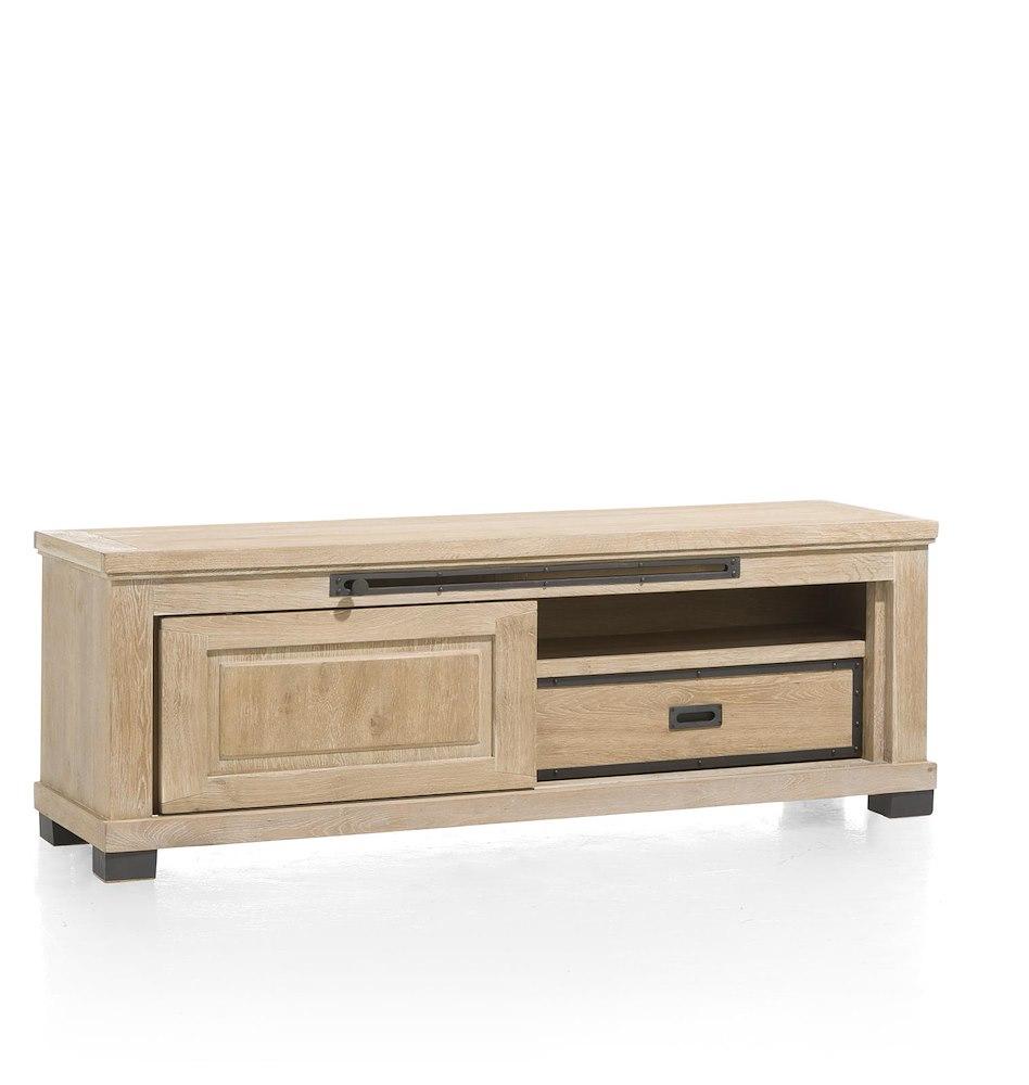 Atelier meuble tv 1 porte coulissante 1 tiroir 1 for Meuble informatique porte coulissante