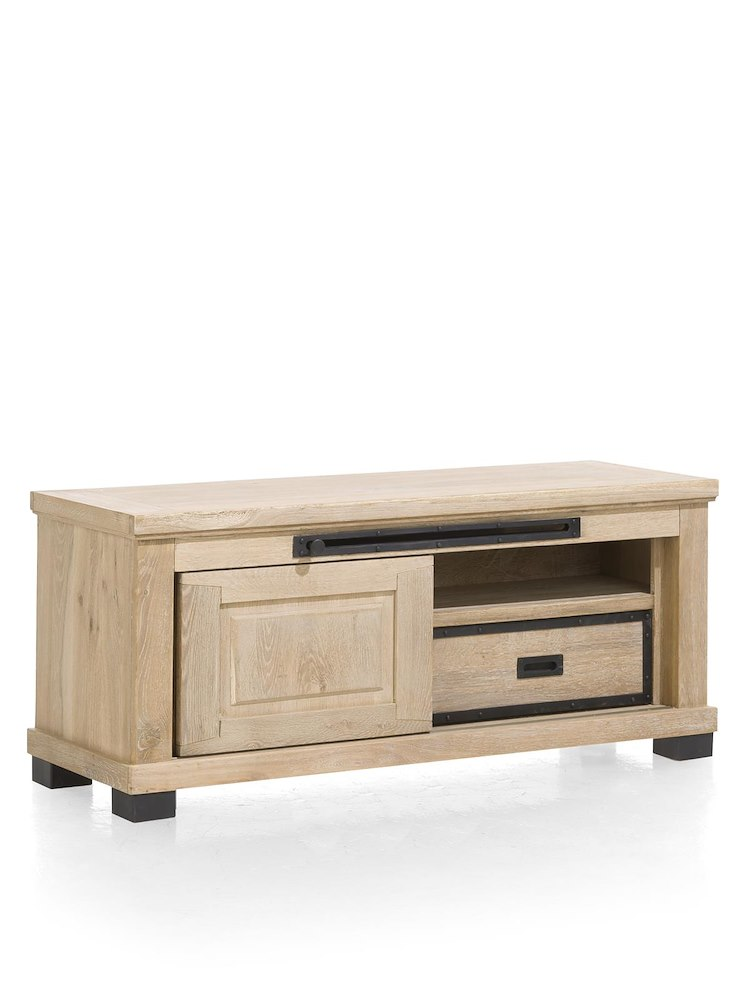 atelier meuble tv 1 porte coulissante 1 tiroir 1 niche 130 cm. Black Bedroom Furniture Sets. Home Design Ideas