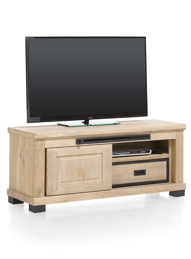 meuble tv atelier 1 porte coulissante 130cm heth. Black Bedroom Furniture Sets. Home Design Ideas