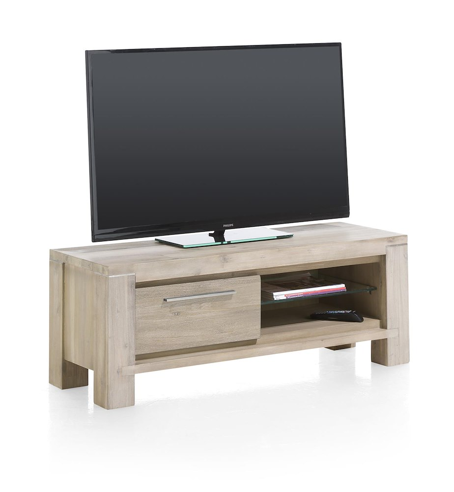multiplus meuble tv 1 porte rabattante 2 niches 120 cm. Black Bedroom Furniture Sets. Home Design Ideas