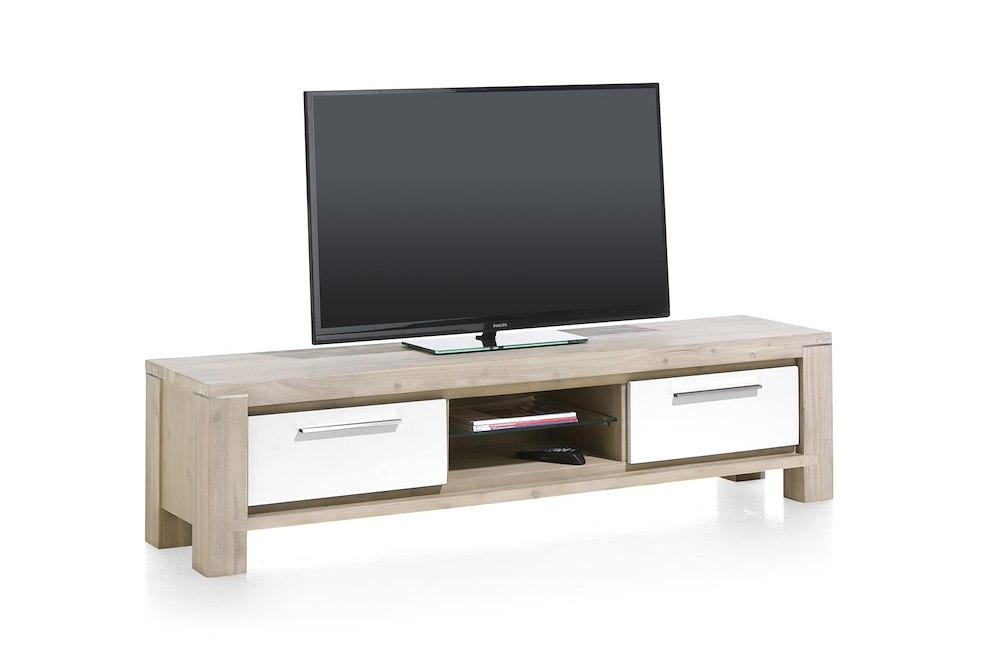 Multiplus meuble tv 1 tiroir 1 porte rabattante 2 niches 180 cm for Meuble qui a plusieurs tiroirs