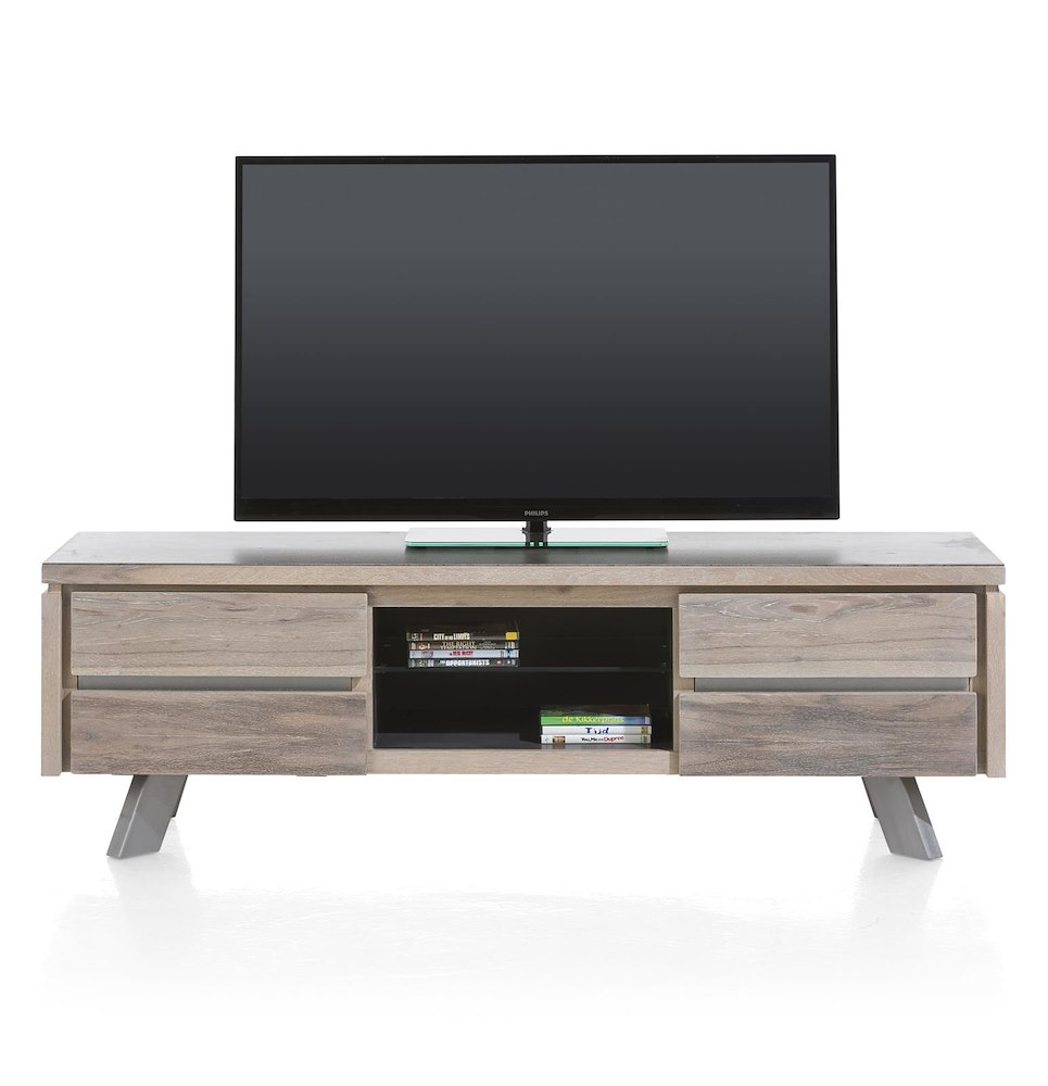 Meuble tv moderne ermont 160x45 cm heth for Meuble qui a plusieurs tiroirs