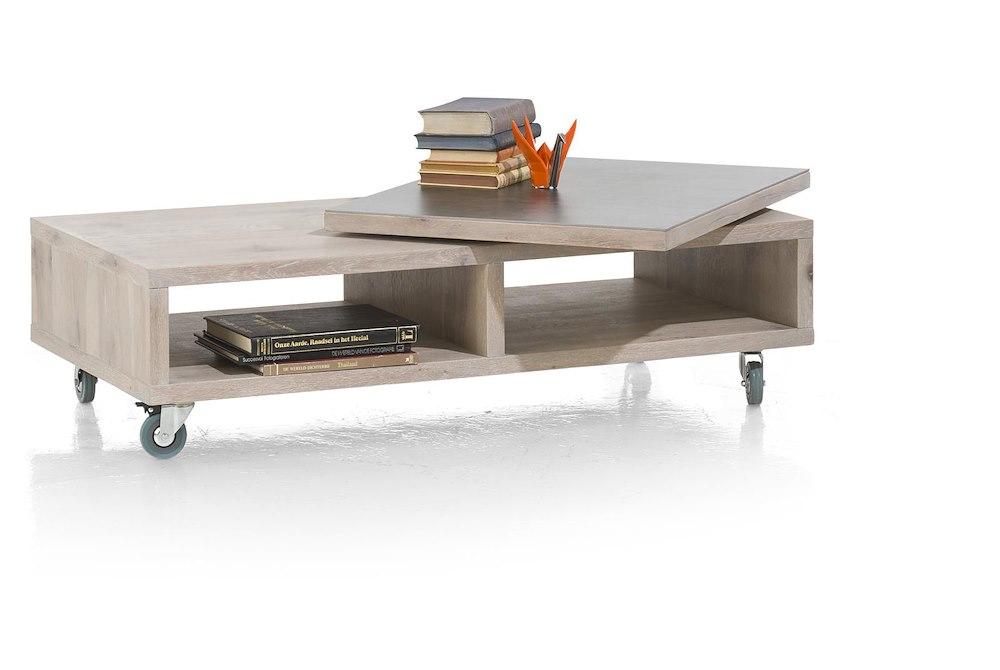 Table de salon en bois ermont 120x35 cm heth - Table basse plateau pivotant ...