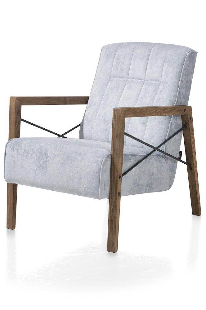 Northon, fauteuil avec accoudoir en bois vintage clay / white / black ...