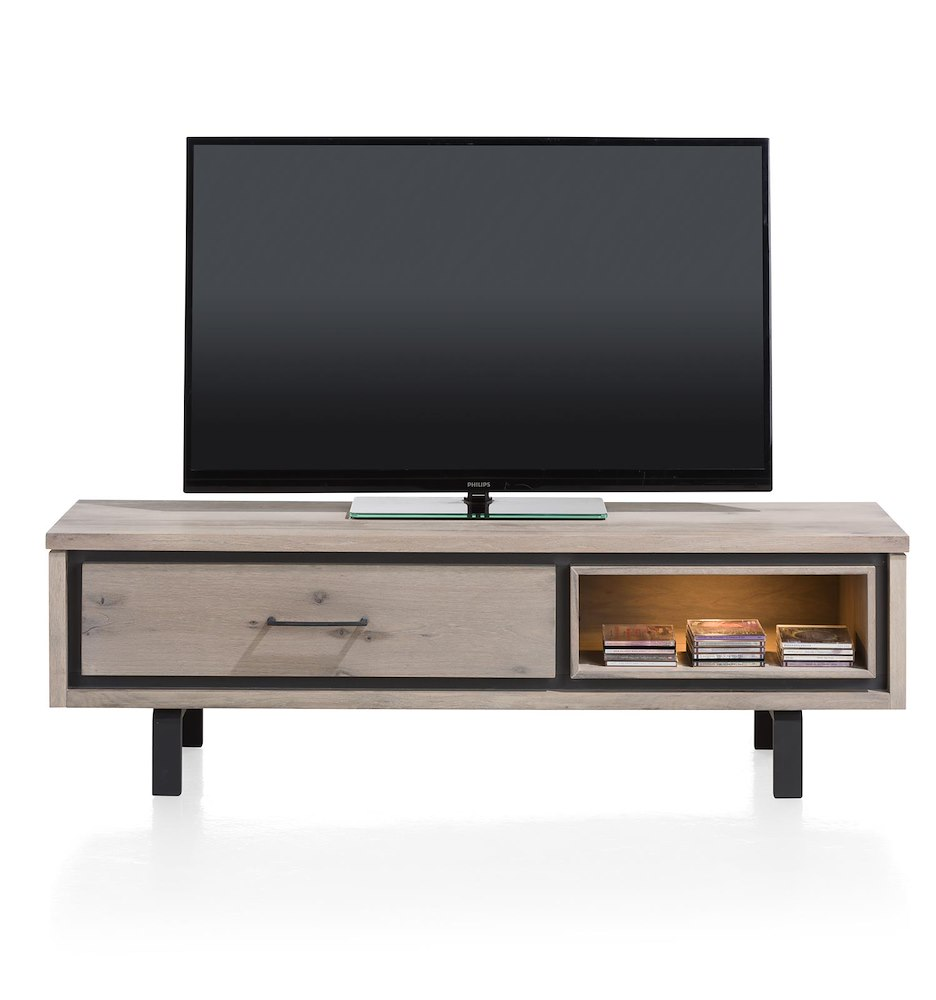 Eivissa meuble tv 1 porte rabattante 1 niche 150 cm for Meuble porte tv
