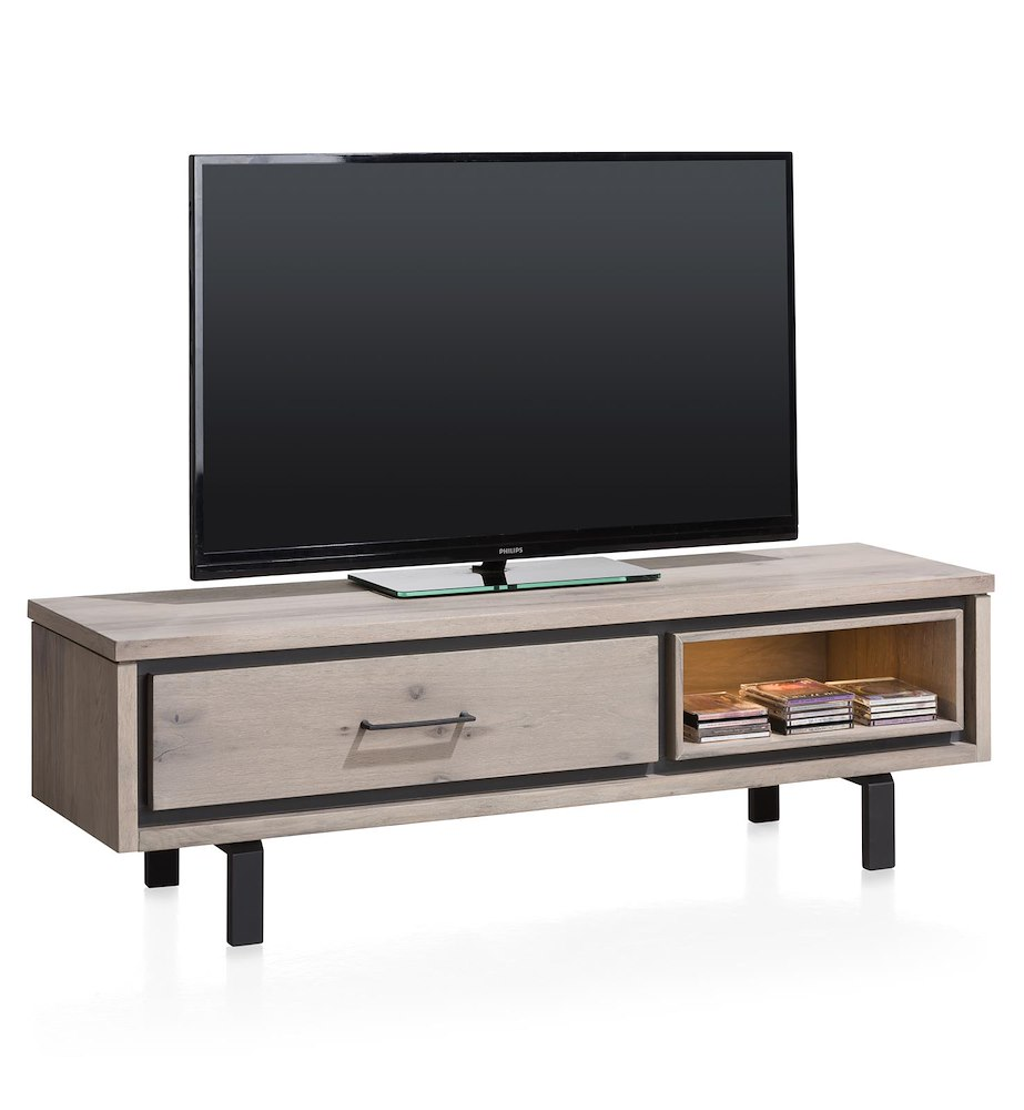 Meuble tv 1 porte rabattante 1 niche 150cm eivissa heth for Meuble tv porte