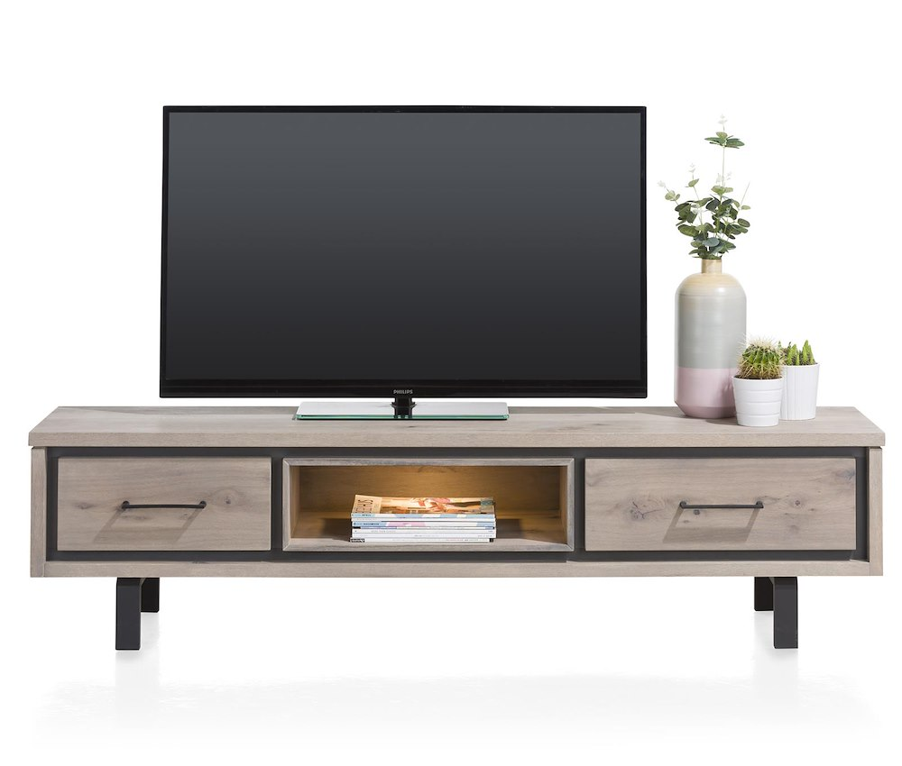 eivissa meuble tv 1 tiroir 1 porte rabattante 1 niche 180 cm led. Black Bedroom Furniture Sets. Home Design Ideas