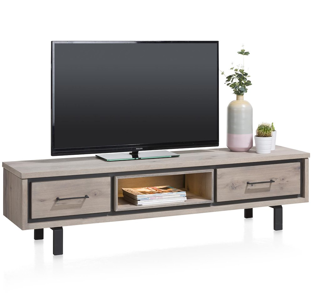 eivissa meuble tv 1 tiroir 1 porte rabattante 1 niche 180 cm led. Black Bedroom Furniture Sets. Home Design Ideas