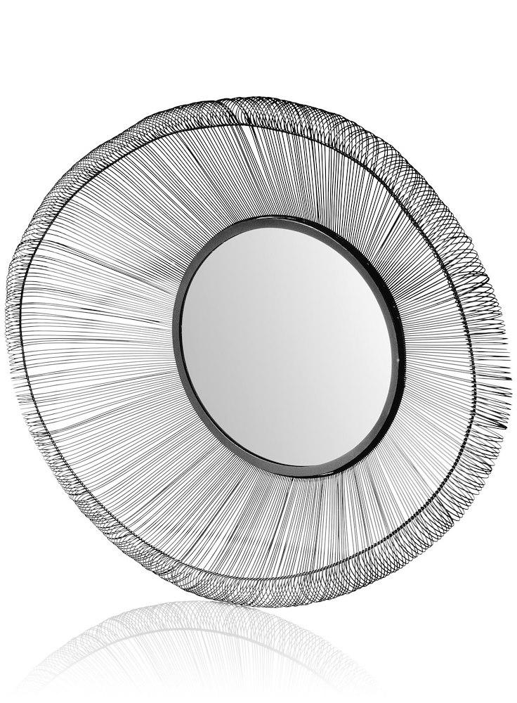 Miroir structure acier noir 96x74cm gina coco maison heth for Miroir noir download