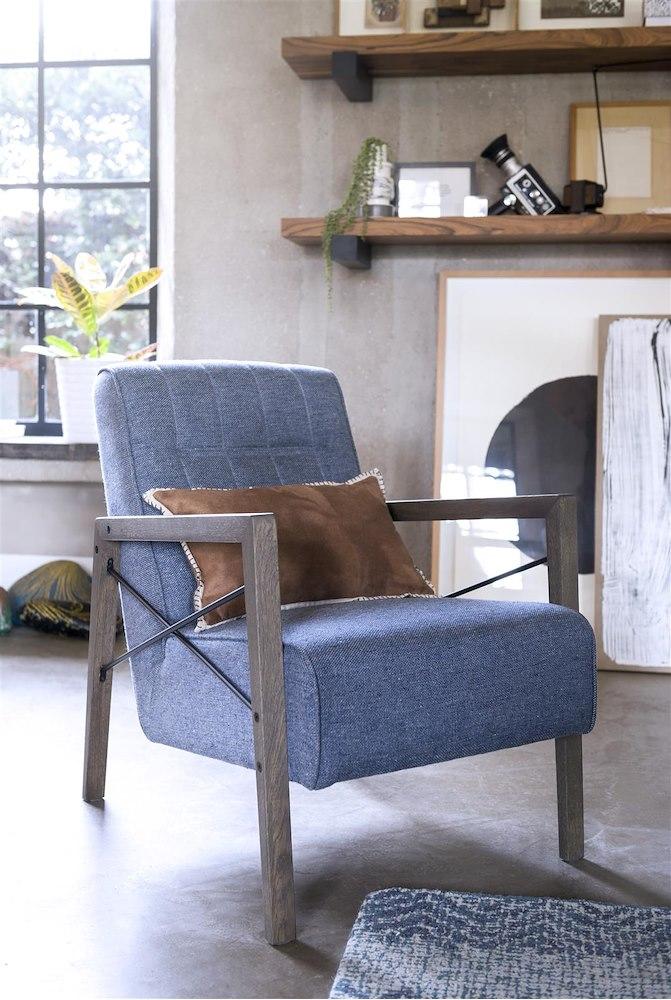 fauteuil northon cuir et tissu 84x63 cm. Black Bedroom Furniture Sets. Home Design Ideas
