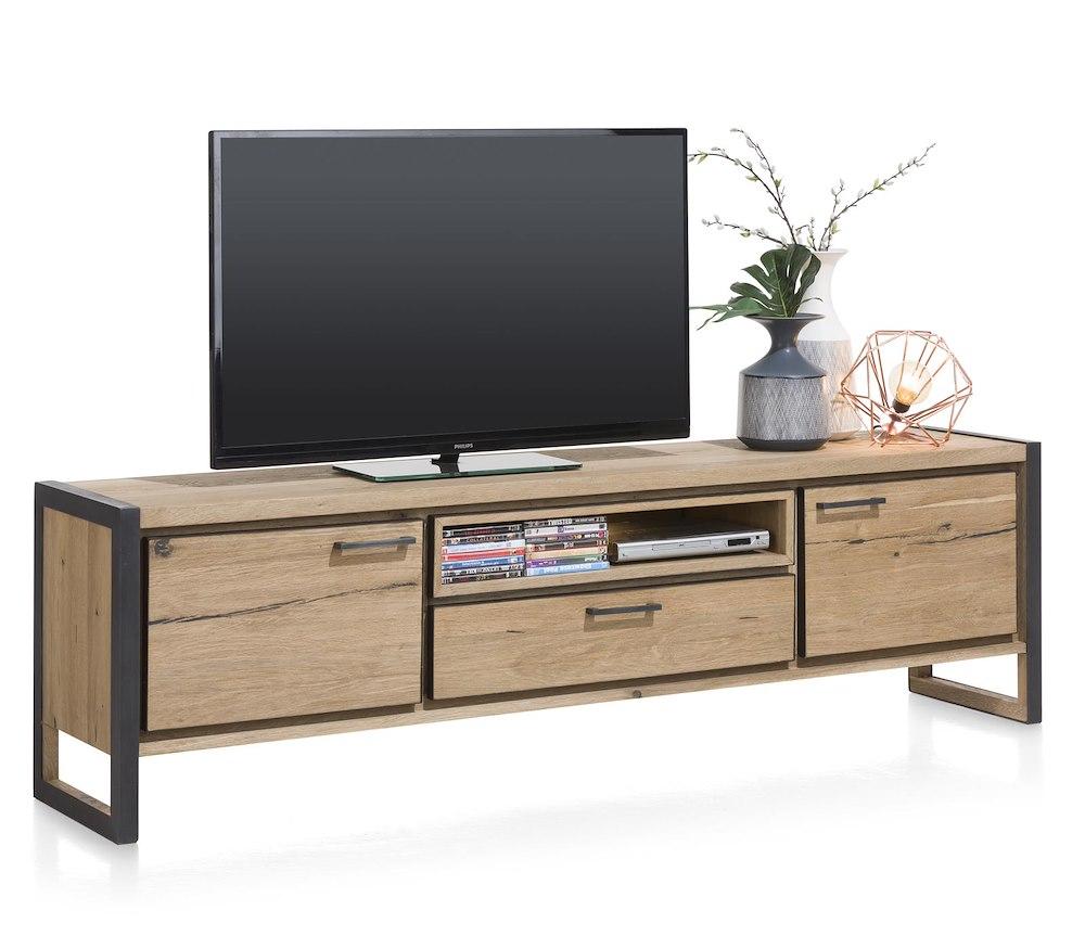 lowboard moderne 2 portes metalo 210x60 cm heth. Black Bedroom Furniture Sets. Home Design Ideas
