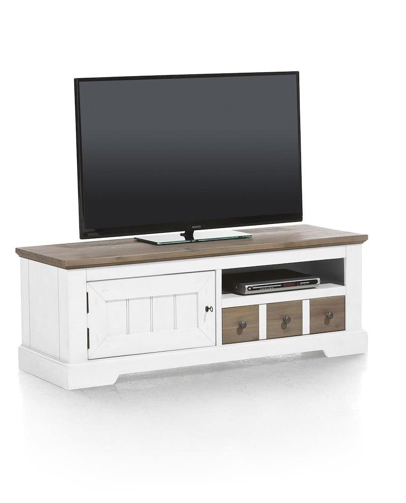 Meuble tv bois d 39 acacia le port 140x50 cm heth for Meuble tv porte