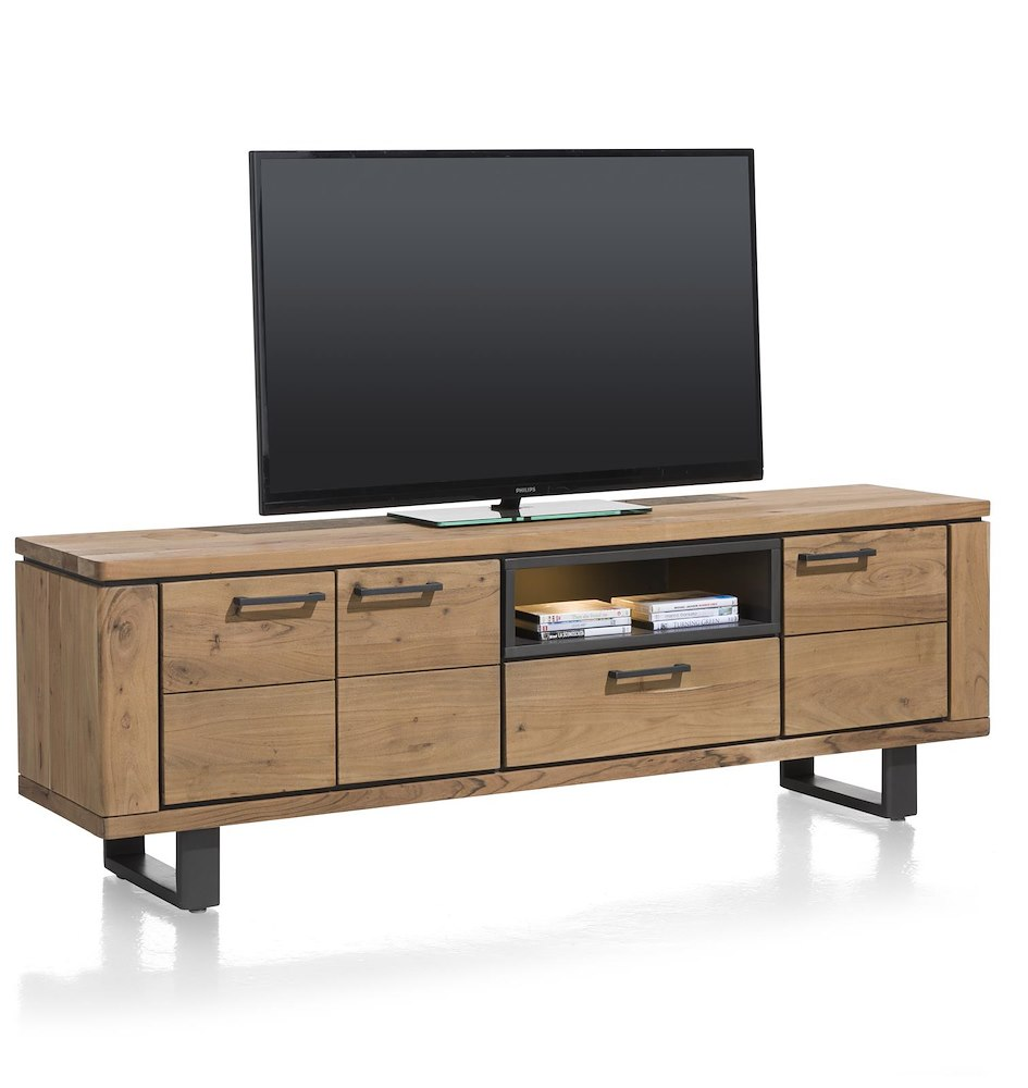 quebec lowboard 3 portes 1 tiroir 1 niche 180 cm led. Black Bedroom Furniture Sets. Home Design Ideas