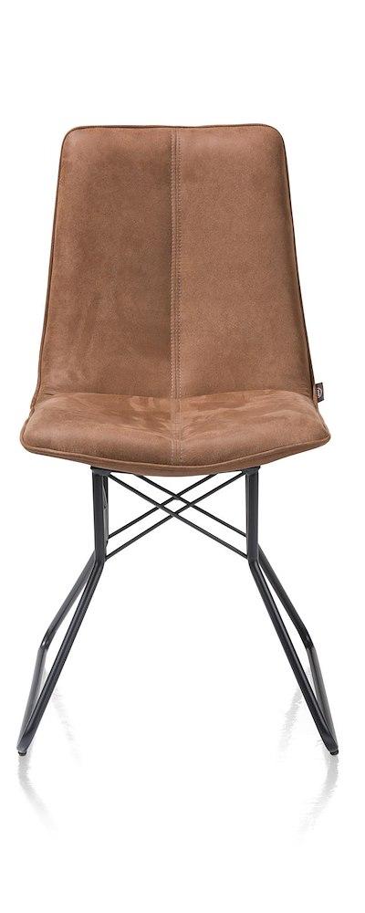 lisa chaise pied metal couleur off black kibo cognac coffee. Black Bedroom Furniture Sets. Home Design Ideas