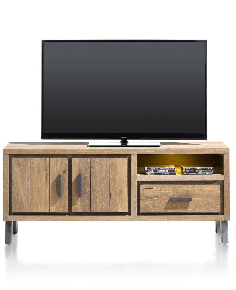 vitoria lowboard 2 portes 1 tiroir 1 niche 140 cm led. Black Bedroom Furniture Sets. Home Design Ideas