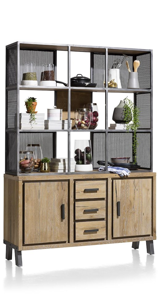 vitoria buffet parti haute 2 portes 3 tiroirs 9 niches 140 cm. Black Bedroom Furniture Sets. Home Design Ideas