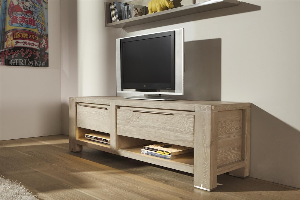 meuble tv buckley 1 tiroir 2 niches 1 porte 150cm heth. Black Bedroom Furniture Sets. Home Design Ideas