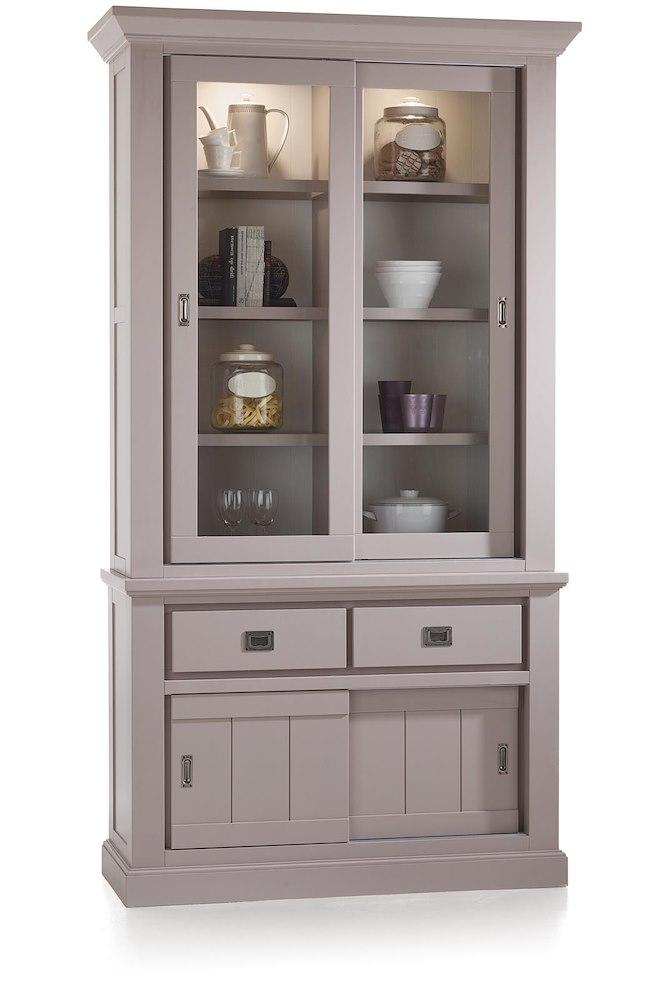Madisonate vaisselier 4 portes coulissantes 2 tiroirs for Armoire 2 portes coulissantes largeur 120 cm