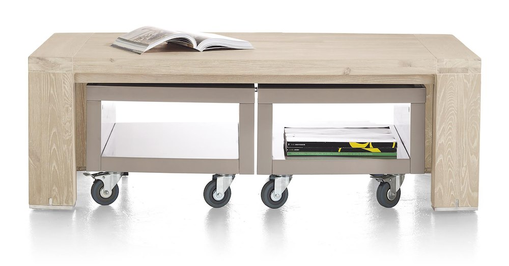 Buckley coffee table 120 x 70 cm incl 2x trolley for Table 70 cm de large