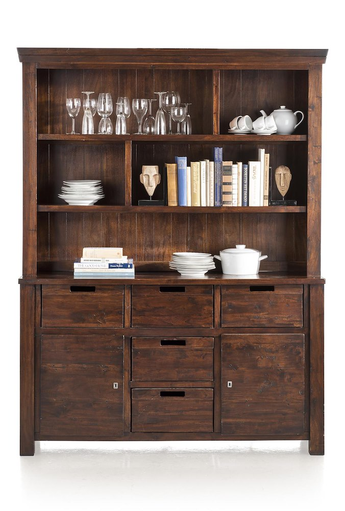 Cape Cod, cabinet 2-doors + 5-baskets + upper part bookcase
