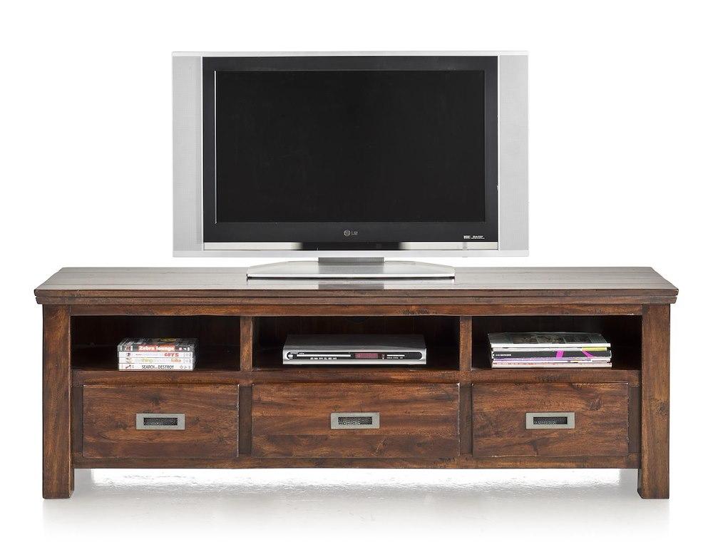 Cape cod meuble tv 3 tiroirs 3 niches 160 cm for Meuble tv 160 cm
