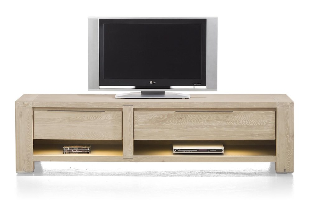 Buckley meuble tv 1 tiroir 2 niches 1 porte for Meuble tv led