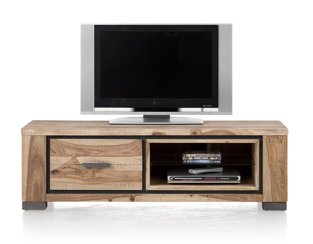 meuble tv priego 1 tiroir 2 niches 130cm heth. Black Bedroom Furniture Sets. Home Design Ideas