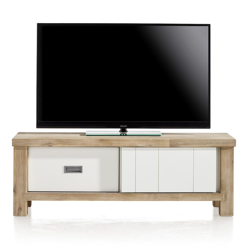 Meuble tv istrana 1 porte coulissante 1 tiroir 130 cm for Meuble tv 100 cm design