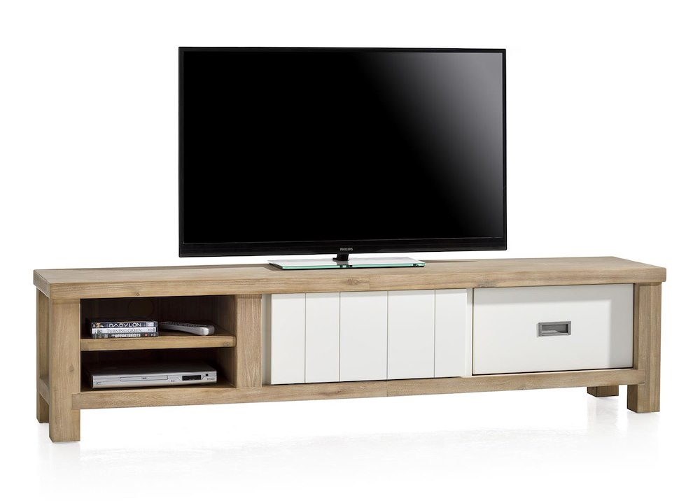 Meuble tv istrana 1 porte coulissante 1 tiroir 2 niches for Meuble tv porte