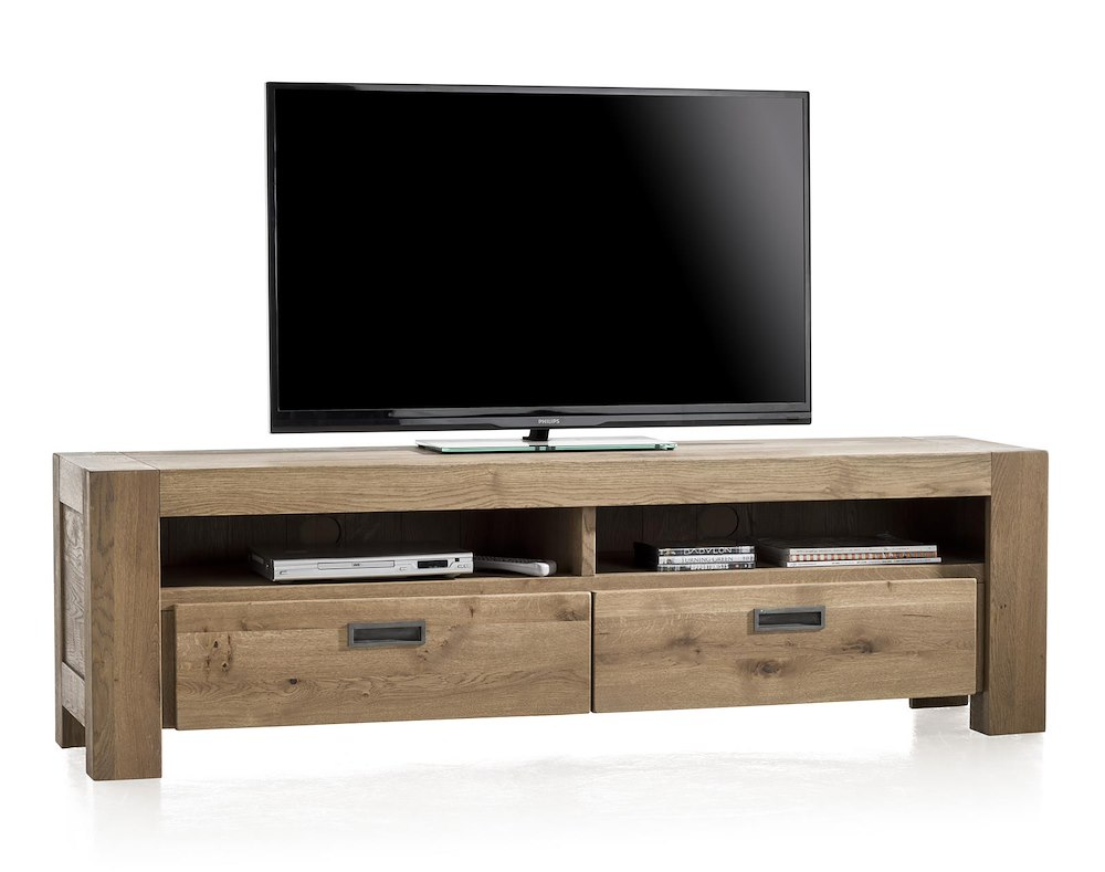 meuble tv santorini 2 tiroirs 2 niches 180 cm heth. Black Bedroom Furniture Sets. Home Design Ideas