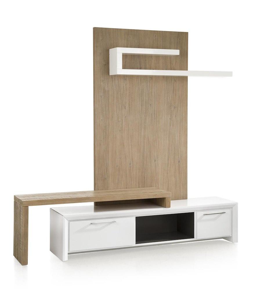 Kozani meuble tv 1 tiroir 1 porte rabattante 1 niche for Meuble tv porte