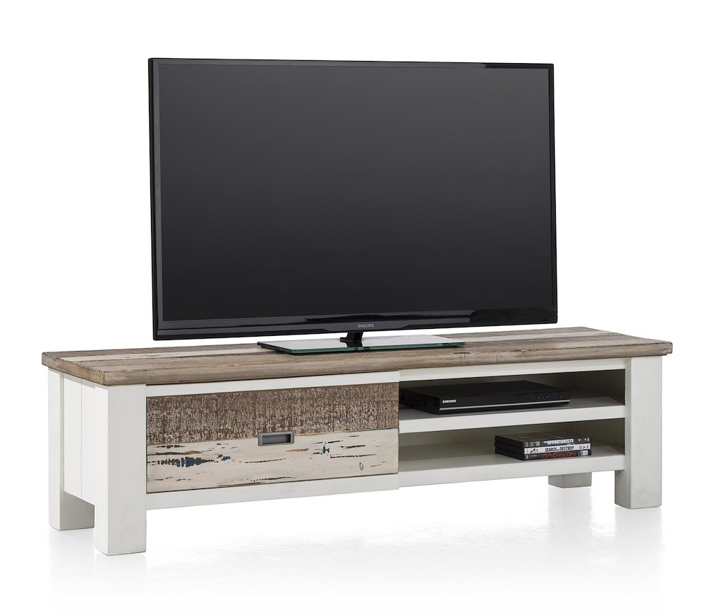 meuble tv tibro 1 porte rabattante 2 niches 145 cm heth. Black Bedroom Furniture Sets. Home Design Ideas