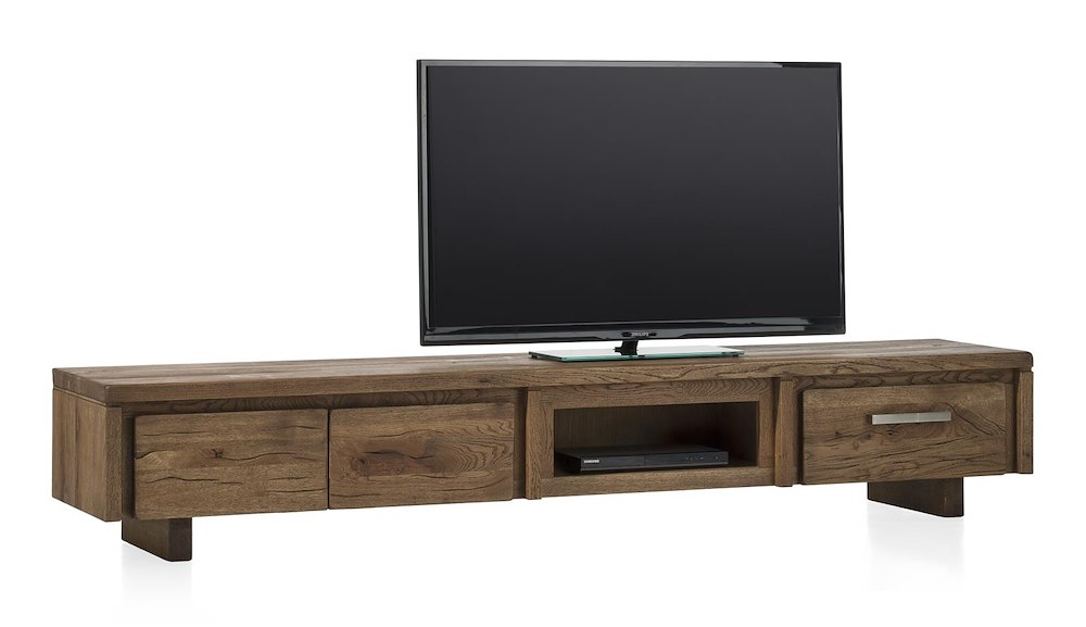 masters meuble tv 2 portes rabattantes 1 tiroir 1 niche 220 cm bois. Black Bedroom Furniture Sets. Home Design Ideas