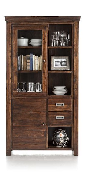 Cape Cod, Glass Cabinet 2-doors + 2-drawers + 4-niches - 111 Cm