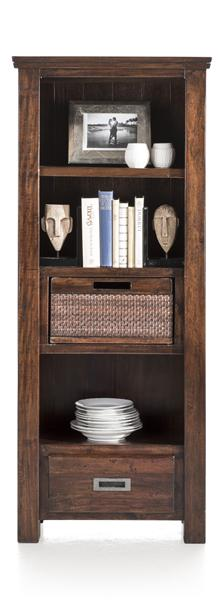 Cape Cod, Bookcase 1-drawer + 1-basket + 3-niches - 65cm