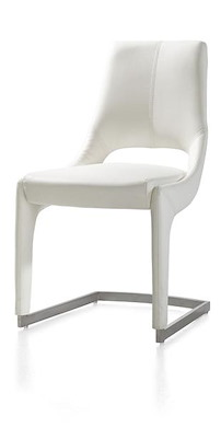 Jimmy, Dining Chair Stainless Steel + Tatra Leatherlook