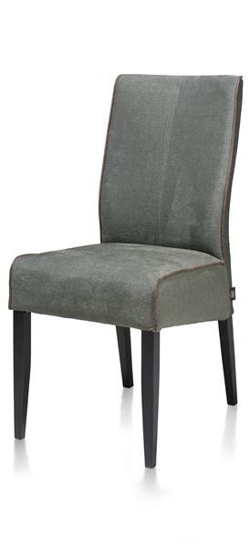 Lotte, Chaise - Pieds En Hetre Noir - Tissu Miami Vert / Ocre