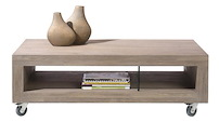 Kodiak, Table Basse 120 X 60 Cm + 2-niches + Roues