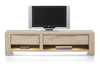 Buckley, Meuble Tv 1-tiroir + 2 Niches + 1-porte Rabattante 180 Cm (+ Led)