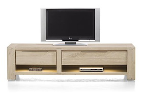 Buckley, Meuble Tv 180 Cm -1-tiroir + 2 Niches + 1-porte Rabattante (+ Led)