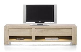 Buckley, Meuble Tv 180 Cm -1-tiroir + 2 Niches + 1-porte Rabattante (+ Led)