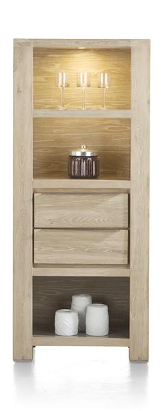 Buckley, Bookcase 2-drawers + 3-niches (+ Led)