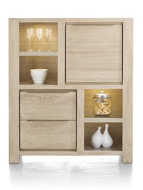 Buckley, Cabinet 1-door + 2-drawers + 4-niches - 120 Cm (+ Led)
