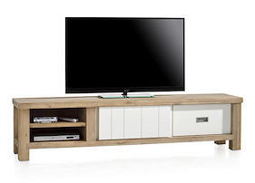 Istrana, Meuble Tv 1-porte Coulissante + 1-tiroir + 2-niches 190 Cm
