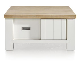Istrana, Table Basse 90 X 90 Cm + 2-portes Coulissantes + 2-tiroirs