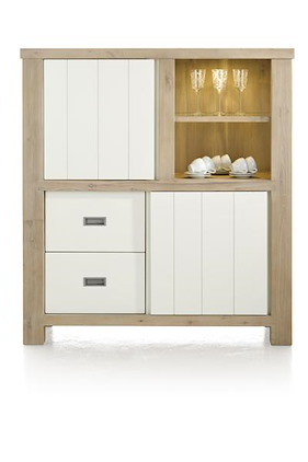 Istrana, Armoire 1-porte Coulissante + 1-porte + 2-tiroirs + 2-niches(+led)