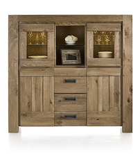 Santorini, Highboard 2-p. En Verre+2-portes+2-tiroirs+2-niches(+ Bande Led)